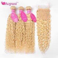 Bulks Human Hair Aopusi peruviano 613 Bandele d'onda d'acqua con chiusura Bionda riccia 4 × 4 estensioni remy