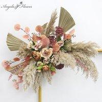 مخصص فاخر روز السحلية نصف دائري ترتيب الأزهار الزفاف القوس الديكور خلفية زهرة جدار حزب المرحلة نافذة عرض