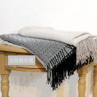 Scarves 2021Nordic Wind Autumn Winter Woven Blanket Jacquard Diamond Tassel Knitting Imitation Cashmere BlanketShawl