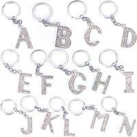 الحلي الأزياء كريستال حجر الراين الأبجدية كيرينغ إلكتروني الأولي سلسلة حلقة رئيسية للجنسين سلسلة المفاتيح 26 حرفا