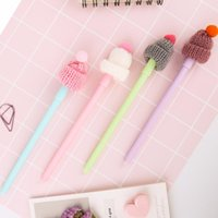 Gel Pens 8 Pcs Lot Cute 0.5mm Black Ink Pen Hat Theme Full Needle Set Writing Stationery Office School Supplie Creative Gift