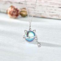Pendant Necklaces Han Edition Personality Moonstone S925 Aurora Cat Sterling Silver Necklace Female Fashion Meow Planet