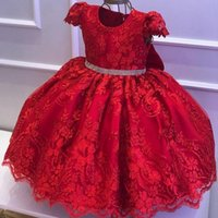 Amazing Lace Ball Gown Backless Flower Girl Dresses For Wedding Red Toddler Pageant Gowns With Bow Floor Length Kids Prom Dress