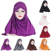 Monochrome Scarf Hat Muslim Hijabs Headscarf Set Women's Wrap Head Scarves Summer Solid Color Turban Caps