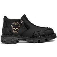 Sapatos de vestido Novos Sapatos Masculinos Moda Tendência Legal Artesanal Cor Sólida Plutônio Grosso Sola com Capuz Lado do Crânio Zíper BOXAS DE UDLO