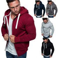 Mens Plus Size Hoodies Autumn Winter Drawstring Pocket Hooded Sweatshirt Long Sleeve Zip Slim Coat Male Jacket Coats