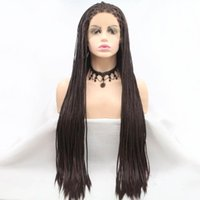 Synthetic Wigs M&H Brown Long Hair Braided Box Braids Lace Frontal Heat Resistant Fiber Natural Hairline Cosplay Front