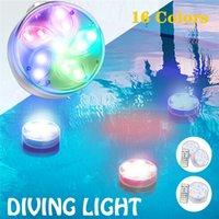 Ночные погружные огни IP68 водонепроницаемый светодиодный бассейн лампы дистанционного управления с присосным чашкой Магнитный душ Ванна для душа Светлый аквариум Пруд бассейна Party