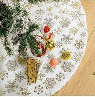 122 cm Choinki Spódnica Biały Krótki Plusz Z Złotym Stemplowanie Snowflake Xmas Drzewa Dolna Dekoracja Sukienka Ornament Party Wakacyjna FWF9458