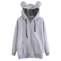 Women's Hoodies & Sweatshirts Women Solid Color Print Cat Ear Zipper Pocket Long Sleeve Pullover Coat Casual For Winter Autumn Female Sudade