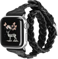 Lüks Pin Toka Özel Tasarım Dokuma Kayışı Çift Döngü Örgülü Deri Watch Band Kadın Adam Apple IWatch Serisi için 5 4 3 2 1 Samsung 20mm 22mm Versa Smartbands