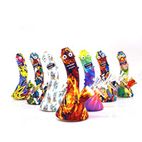 Bongs de silicona Impresión de dibujos animados Mini Hookah Dab Rigs Pepinos Bong con tazón de vidrio Tubo de agua Multi Color DHL gratis