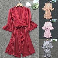 Women's Sleepwear Silk Kimono Robe Bathrobe Women Bridesmaid Robes Nightgowns Sexy Satin Dressing Gowns Night Dress Peignoir