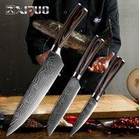 """Xituo 8 """"5"""" 3,5 """"Japanischer Chefmesser Set 3 stücke Damaskus Stahl Muster Küchenmesser Sets Kleber Paring Santoku Slicing Utility"""