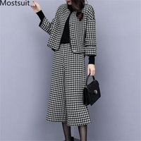 Two Piece Dress 2021 Autumn Winter Houndstooth Sets Outfits Women Woolen Coat And Cropped Wide Leg Pants Suits Office Elegant