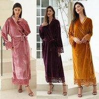Women's Sleepwear 2021 Long Velvet Fuzzy Robe Bridal Bridesmaid Robes Lace For Women Wedding Bathrobe Dressing Gowns