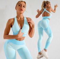 Womens Yoga Anzug Fitnessstudio Sportkleidung Trainingsanzüge Fitnesssport Zweiteiler Set 2 stücke BH Leggings Outfits Active Tech Fleece Workout Sets Yogaworld Mode Designer Anzüge