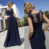 Navy Mermaid Beaded Mother Of The Bride Dresses Sheer Bateau Neck Evening Gowns Sweep Train Chiffon Wedding Guest Dress