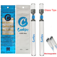 Cookies Rechargeable Vape Pen Disposable E-cigarettes Kit Empty Atomizers 0.5ml Carts 280mah Battery Starter Kits PVC Tubes Package Bag bottom charger Vaporizer