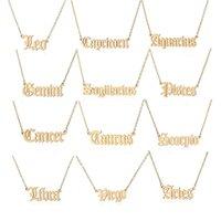 Acciaio inossidabile 12 collane a sospensione zodiacale per le donne uomini costellazioni di moda collana oro sliver libra scorpione sagittario capricorno regalo di compleanno Aquarius