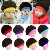 Beanie Skull Caps Novelty Kids Baby Toddlers Wig Hat Party Cosplay Po Props Boy Girl Winter Afro Knitted Big Hair Curly Cap 1-4T