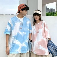 Women's T-Shirt 2021 Tie-dye Short-sleeved Five-quarter Sleeve Matching Outfit Couples Clothes Clothing