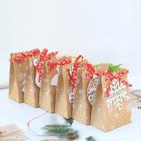 6 stili European New Christmas Candy Box Christmas Kraft Paper Snowflake Bag Bag Biscotto Biscotto Sacchetto di caramelle DHD7502