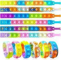 Fidget Toys Tie Dye Push Its Pops Bubble Bracelets Sensory Bubbles Popper Bangle Rubber WristBand Early Education Toy Halloween Christmas Relieves Stress Bauble