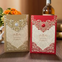 1 قطع الأحمر الذهب الليزر قطع تاج دعوات الزفاف بطاقة بطاقات المعايدة أنيقة تخصيص المغلفات حفل زفاف لصالح الديكور