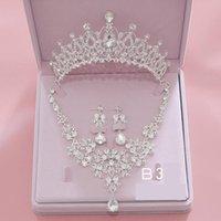 Серьги ожерелье благородный кристалл головной убор из трех частей ювелирных изделий с принцессой Crown Wedding