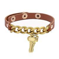 2021 Nouvelle mode Femmes Bracelet Création Chaîne Clé Cuir Bracelet Bracelet Brouettes Bangles Gold Metal Button Bouton Bijoux Cadeaux