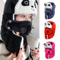 DT068 Military Panda Carton Children Winddicht Winter Bomber Hats with Goggle Warm Lam Oorklep Trapper Snow Caps