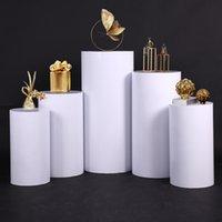 الدعائم الزفاف الأبيض الحديد المطاوع الاسطوانة الحلوى الجدول خمسة قطعة ترحيب منطقة كعكة حامل الحفل جناح زهرة الجدول