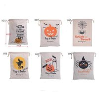 50pcs New Halloween Sacks Bag Canvas Personalized Children Candy Gifts Bag Pumpkin Spider Treat or Trick Drawstring Wholesale