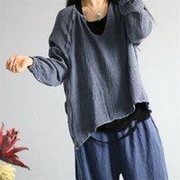 Johnature mulheres outono linho vintage cor sólida t - shirts O-pescoço de manga cheia nova solta casual pulôver mulheres t-shirt 210317