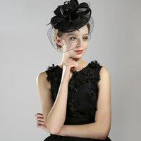 Europeanamerican frauen top hüte handgefertigte schwarze feder veil braut hut hochzeit abend kleid zubehör braut headwear
