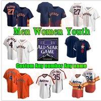 휴스턴 남성 여성 키즈 청소년 Astros 2021 올스타 게임 저지 Jose Altuve George Springer Michael Brantley Yuli Gurriel Alex Bregman Baseball Jerseys