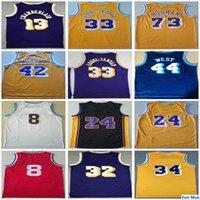 Retro Vintage Klasik Toptan Basketbol Formaları Mens Jerry 44 Batı 42 Worthy Wilt 13 Chamberlain Dennis 73 Rodman Jersey