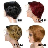Pixie Cut 1B 99J Ombre Lace Front Bob Wig Burgundy Colored Brazilian Virgin Human Hair Short Frontal Closure Glueless Wigs For Black Women