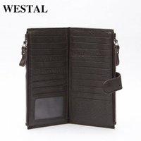 Wholesale WESTAL Genuine Leather Men Standard Wallets Man Double Zipper Wallet Mens Purse Clutch Bag Male Cowhide Leather Wallet 8057 H3Qa#