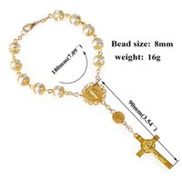 Link, Chain BX0B Catholic Gift Saint Christopher Travel Protection 8MM 0.31Inch Bead Rearview Mirror Car Auto Rosary