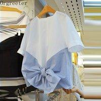 Orgreeter Striped Patchwork Women Tshirt Summer Korean Fashion Sweet Back Bow O-Neck Short Sleeve Tees Casual Female Tops 210525