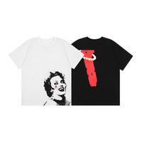 Moda para hombre diseñador camiseta de lujo pareja de lujo de alta calidad patrón de caracteres impresión de manga corta cuello redondo estilo hip hop tees blanco blanco