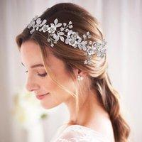 زهرة العروس الزفاف عقال الفضة الكريستال الشعر كرمة أغطية الرأس الزفاف اكليل اكسسوارات للنساء أغطية الرأس SCHP350