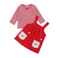 Christmas Baby Girls Outfits Newborn Clothing Sets Infant Clothes Cotton Autumn Winter Striped Long-Sleeved Top T-shirts Print Strappy Skirt Dress 2Pcs B8474