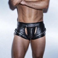 Underpants Boxers Men Underwear Sexy Night Club Leather Mens Cuecas Masculina Open Crotch Boxershorts Man Plus Size S M L XL 2XL