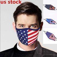 Amerikanska flaggan Stjärnor och Stripes Banner Dammsäker Bomullmask Tvättbar Respirerbar Value Filter Justerbar Cykling Anti-Haze Mask Anpassad