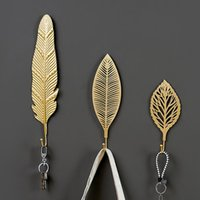 Hooks & Rails Nordic Style Gold Leaf Shape Wrought Iron Hook Wall Hanger Hanging Storage Rack For Towel Clothes Home Organization
