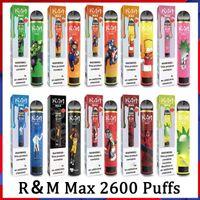 100 % 원래 R 및 M 최대 만화 전자 담배 9ml 1300mAh 2600 퍼프 10 색 일회용 vape randm dazzle pro