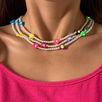 Chokers Boho Mixed Color Fruit Heart Star Butterfly Simulated Pearl Polymer Clay Beaded Choker Necklace For Women Summer Beach Jewelry